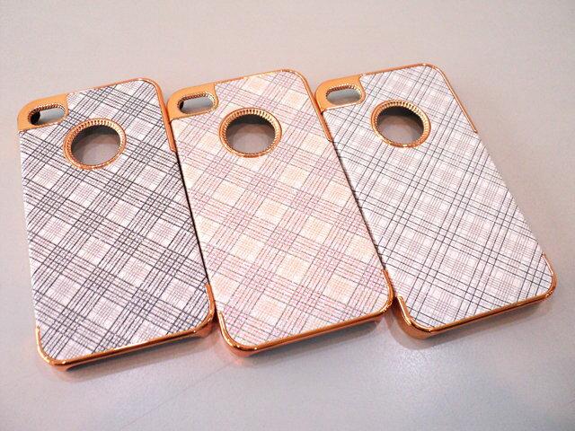 Apple I phone 4S/iPhone 4 亮粉格紋金屬背蓋/硬式保護殼/保護殼 保護套 手機殼 手機套 背蓋 背殼 硬殼