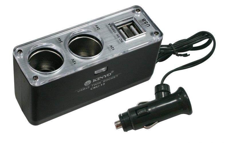 2孔車用點煙器擴充座+USB充電孔/旅充/車充/車用電源擴充/TIS購物館