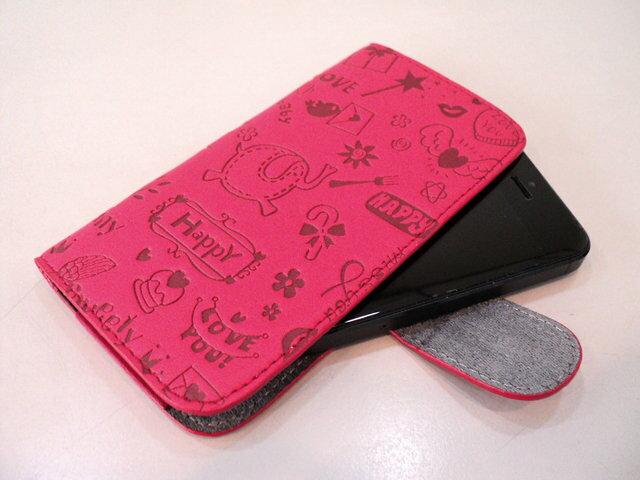 【5.3吋以下 適用 手機套】 超Q立體塗鴉壓紋 手機保護套 Note I9220 側入式手機保護皮套/SAMSUNG Galaxy 保護套/手機套/磁釦/TIS購物館