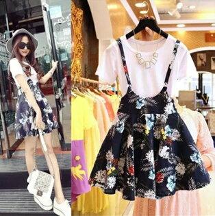 兩件組!韓版短袖T恤樹葉印花背帶連身裙套裝(圖片色,S~XL)-ORead自由風格