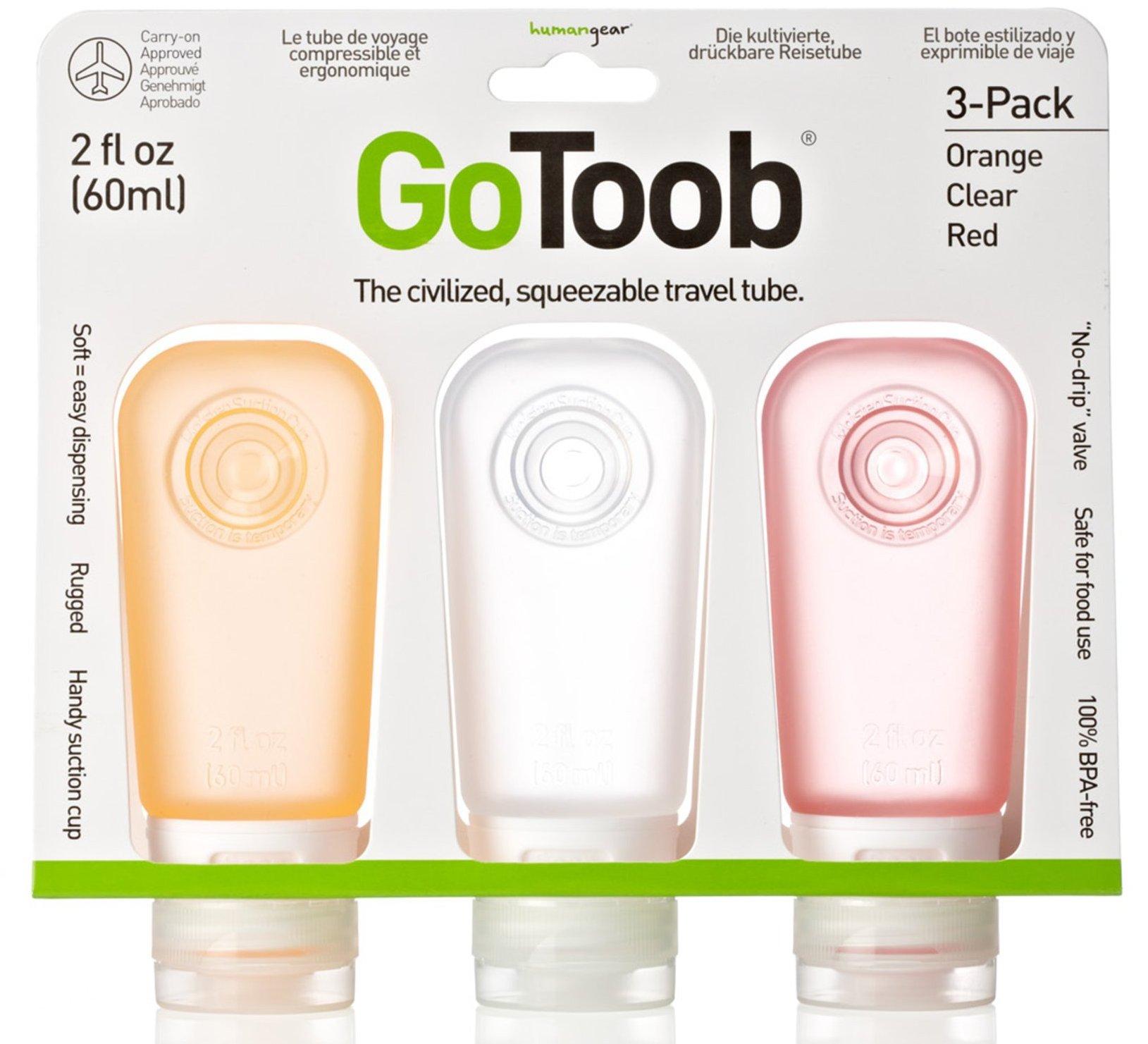 GoToob分裝瓶3件組/旅行分裝瓶/乳液分裝瓶/矽膠分裝瓶 紅橙白 humangear美國旅行用品/台北山水