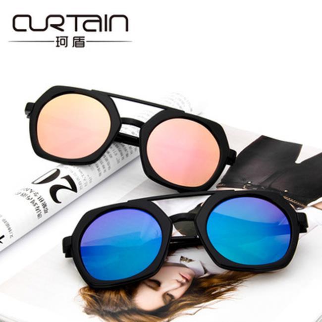 50%OFF SHOP【J022429GLS】新款時尚潮流范範款方形太陽眼鏡復古透明炫彩墨鏡反光太陽眼鏡明星款