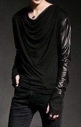 FINDSENSE 韓國潮流 個性領口 拼接亮面衣袖 街頭潮男 夜店 DJ 發型師 必備 長袖T恤 特色長T