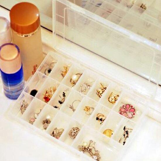 ♚MY COLOR♚24格可拆透明收納盒 飾品 首飾 有蓋 多格 創意 分類 藥盒 材料 手作 儲物【H44-1】