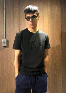 美國百分百【全新真品】Lacoste鱷魚T恤T-SHIRT網眼短袖上衣圓領浮雕logo黑色J145