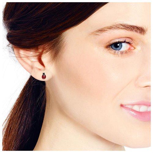 Vibrant Red Enamel Lady Bug Sterling Silver Stud Earrings 3