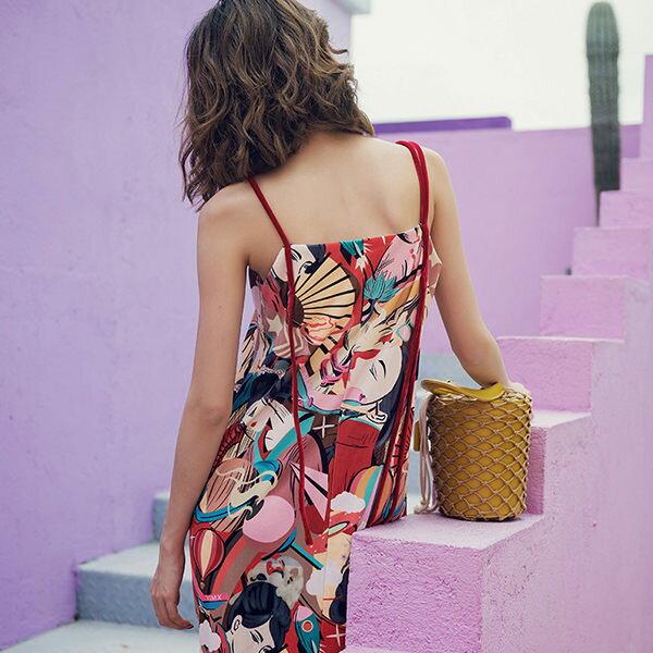 PS Mall 海邊度假連身裙 復古印花裙 洋裝【T385】 1