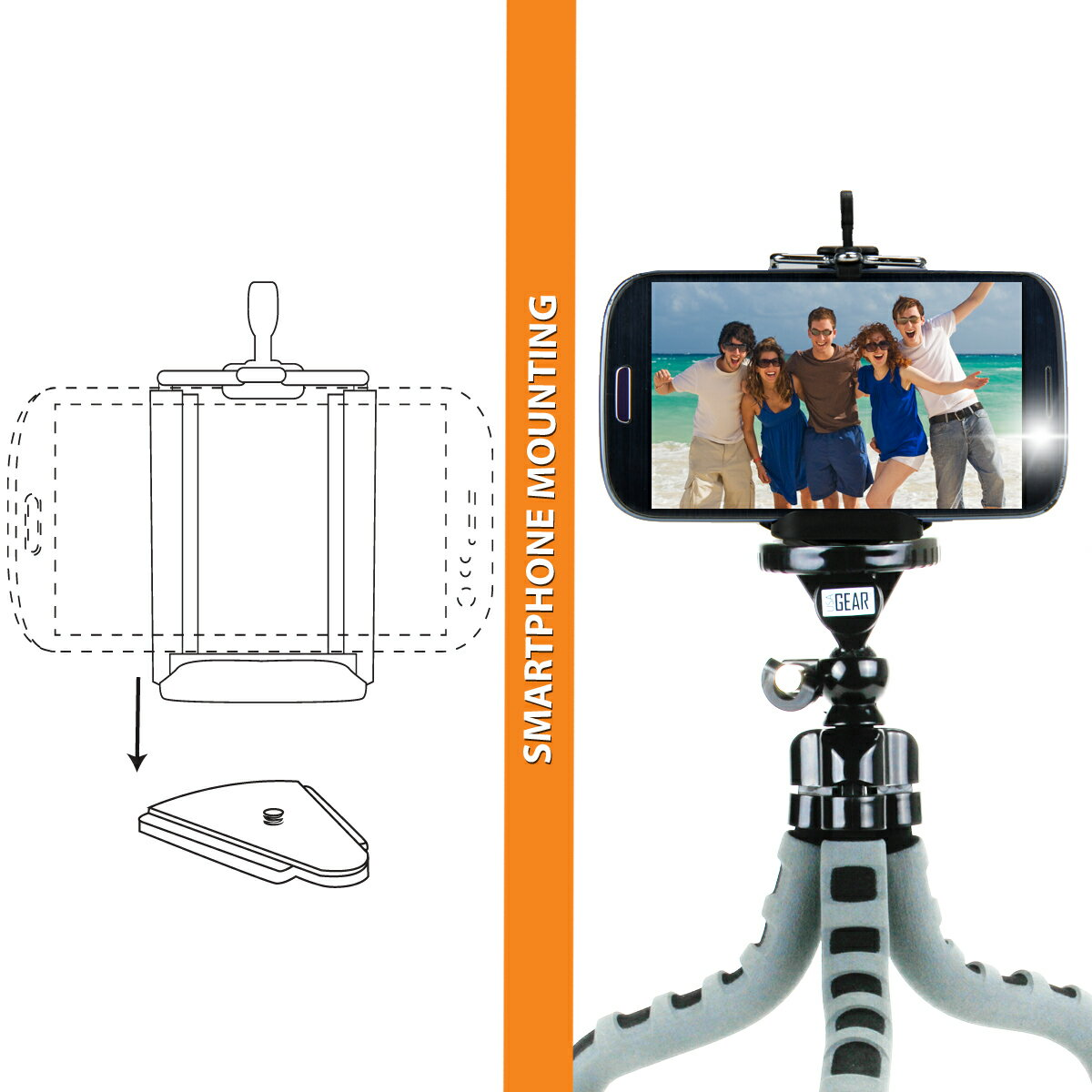 USA GEAR Flexible Tripod with 360-Degree Rotating Mount, Smartphone Adapter and Quick-Release Plate 6