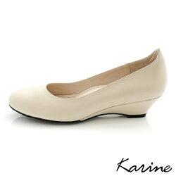 karine(MIT台灣製)全真皮百搭素面楔型鞋-杏色