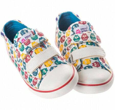 ★衛立兒生活館★英國POCONIDO 兒童黏貼帆布鞋 (貓頭鷹)
