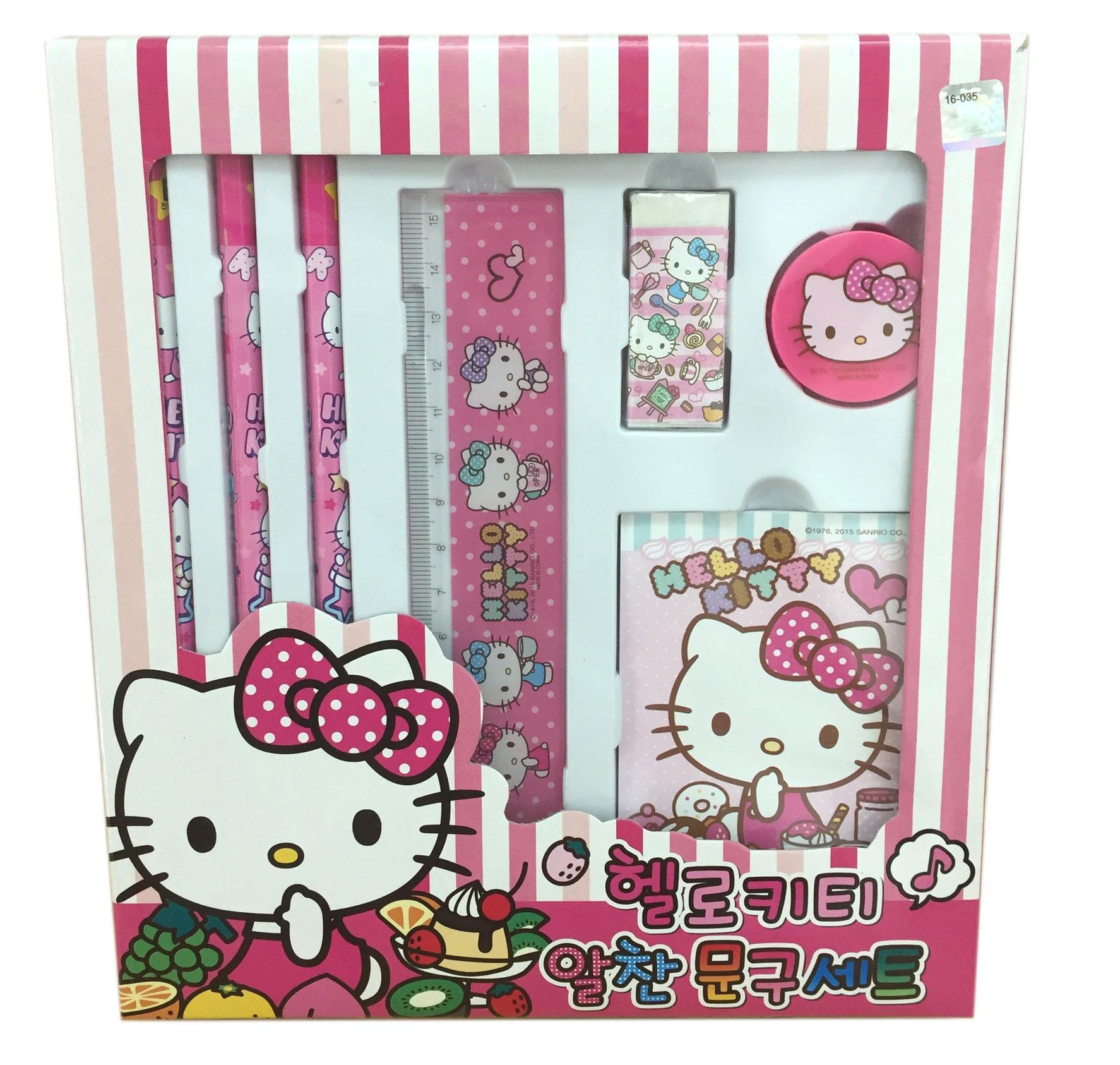 【真愛日本】16071200013文具組-KT水果紅    三麗鷗 Hello Kitty 凱蒂貓 文具用品