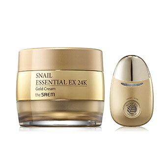 韓國the SAEM Snail Essential EX 24K黃金蝸牛面霜套組 50ml+1ea Snail Essential EX 24K Gold Cream Set【辰湘國際】