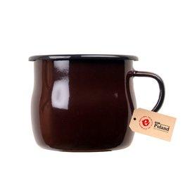 【【蘋果戶外】】Emalia Olkusz 棕色 波蘭 手工馬克曲線琺瑯杯 350ml # 5658332