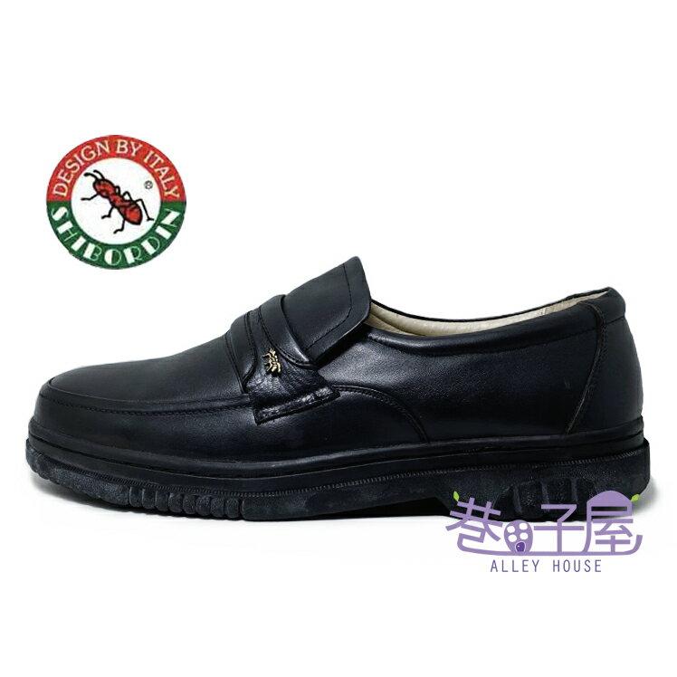 SHIBORDIN喜伯登 紅螞蟻 男款牛皮套入式休閒鞋 黑皮鞋 [8100159] 黑【巷子屋】