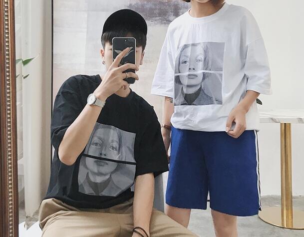 FINDSENSE MD 韓國 潮 男  休閒寬鬆 圓領 潮流女孩圖案 短袖T恤 特色短T