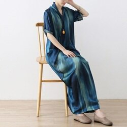 連身長裙寬版連衣裙-柔滑舒適文藝優雅女上衣73sm37【獨家進口】【米蘭精品】