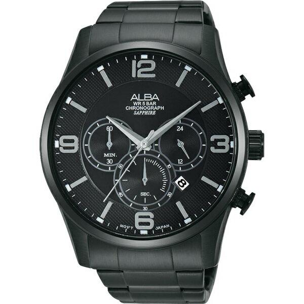 ALBA VD53-X217SD(AT3819X1)炫黑街頭計時腕錶/黑面45mm