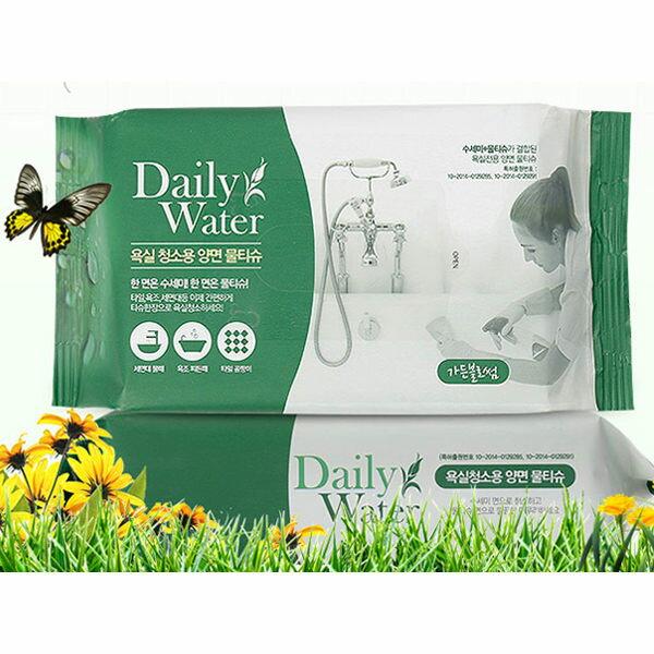 韓國DailyWater拋棄式雙面菜瓜布濕紙巾(40抽)浴廁用