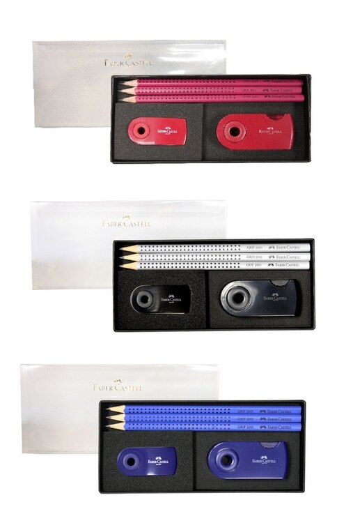 德國輝柏 小禮盒組(GRIP 2001鉛筆3入+S吊掛橡皮擦+旋轉雙孔削筆器)  (E0006)