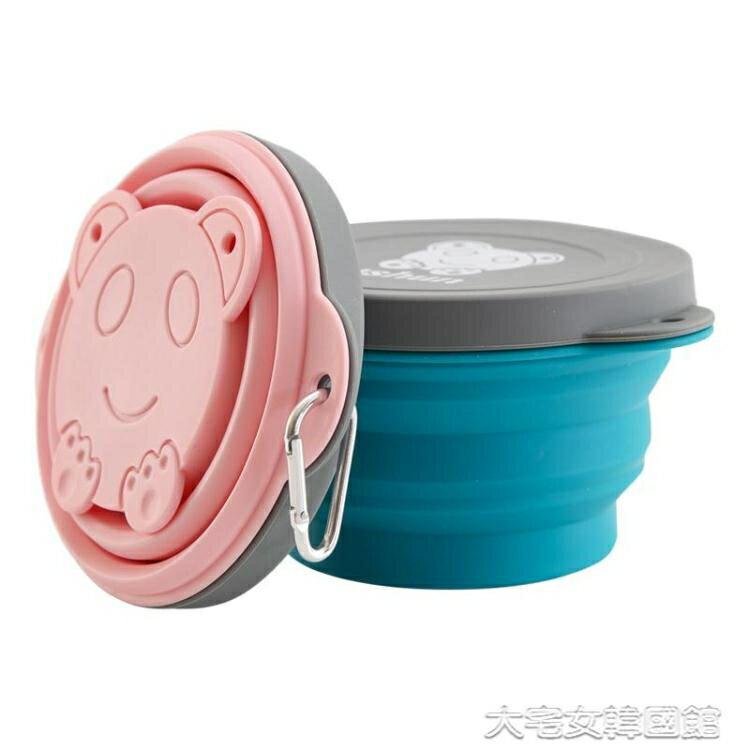 戶外餐具矽膠折疊碗旅行便攜餐具壓縮碗伸縮碗便攜式野餐飯盒可折疊戶外碗 交換禮物
