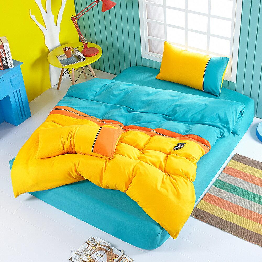 柔絲絨 斯蘭卡 足球 風 被套床包組 加大四件式  哇哇購
