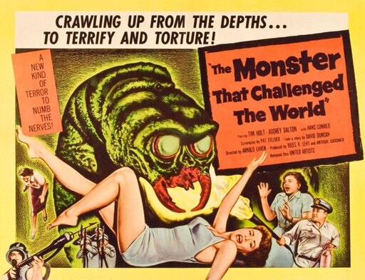 The Monster That Challenged The World Rolled Canvas Art - (14 x 11) beb2bdf4143cd4fa9399b178fc374f99