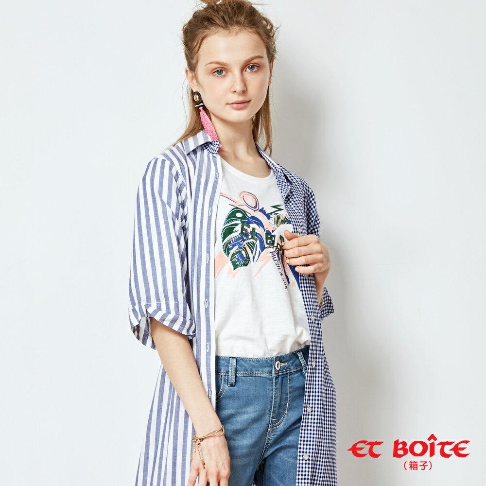 【春夏新品】寬袖開衩收腰長版罩衫(淺藍條紋) - BLUE WAY  ET BOiTE 箱子 4