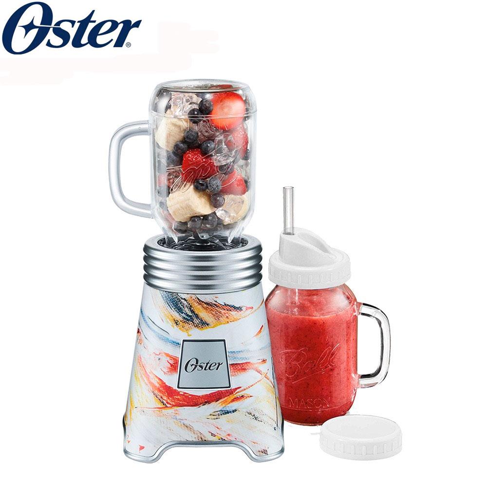 美國 Oster BALL經典隨鮮瓶果汁機 BLSTMM-BA3 彩繪米 Ball Mason Jar  一機一杯組