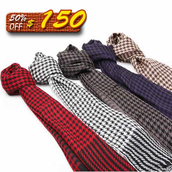 Mao 日韓新品情侶款流行經典千鳥格紋雙面圍情侶圍巾