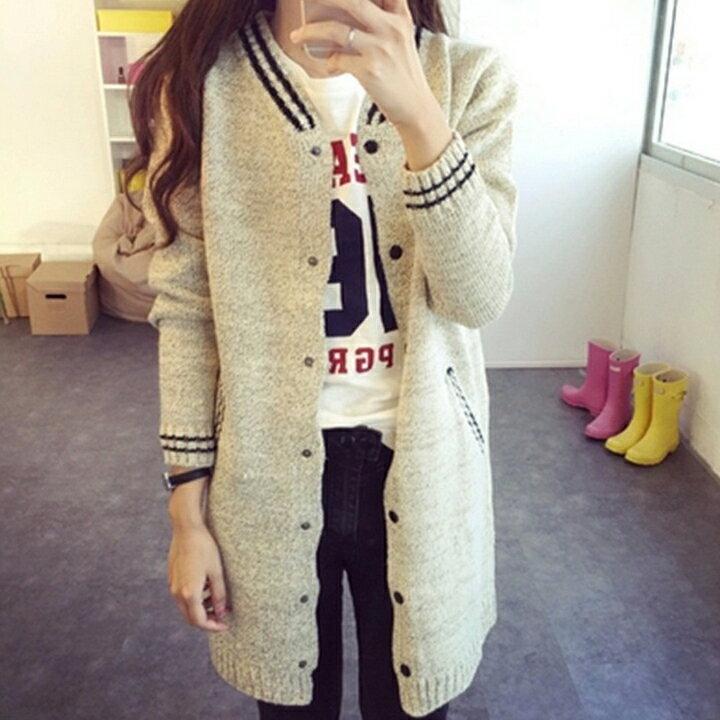 外套 針織 毛衣中長款衫開衫罩衫★i-Fairies【26091】