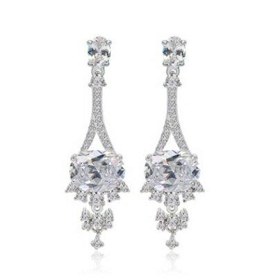 ~純銀耳環鍍白金鑲鑽耳飾~奢華氣質華麗婚禮生日情人節 女飾品73cr156~ ~~米蘭 ~