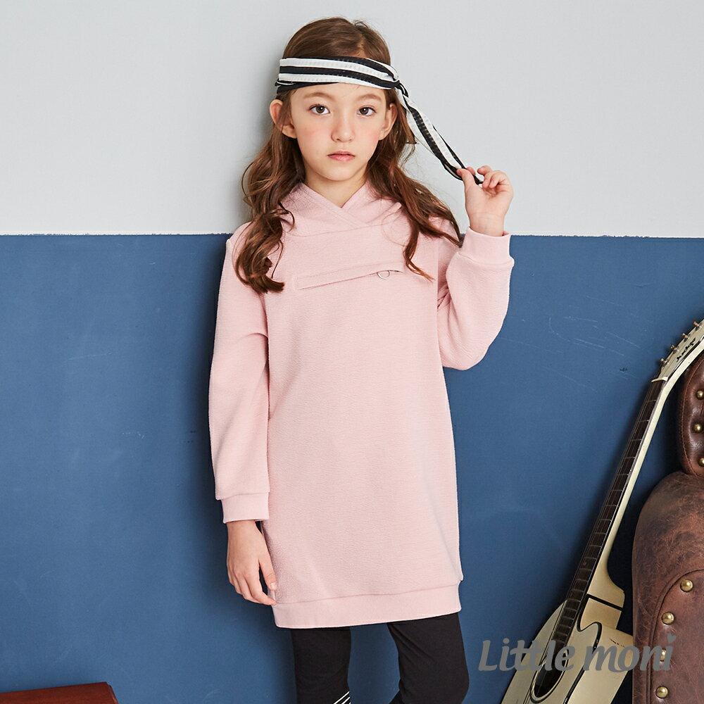 Little moni連帽拉鍊造型長版T-粉紅(好窩生活節) 1