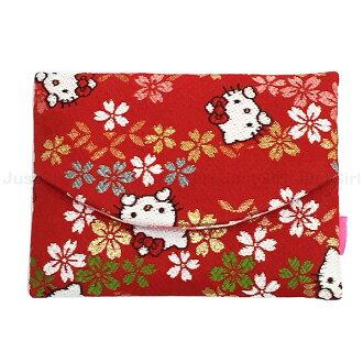 HELLO KITTY 面紙包 隨身面紙 衛生紙套 和風刺繡櫻花 居家 正版日本製造進口 限定販售 JustGirl