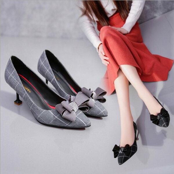 糖衣子輕鬆購【BA0028】韓版新款時尚優雅百搭格子蝴蝶結細跟高跟鞋