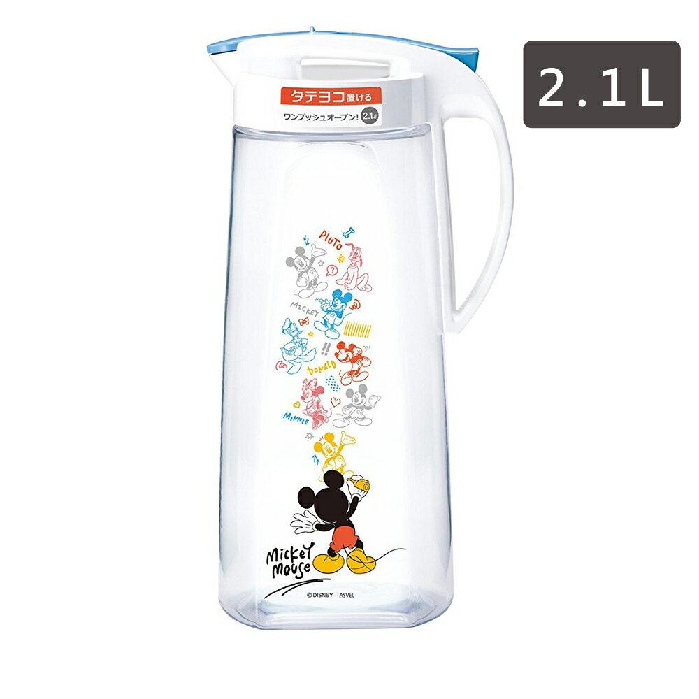 ASVEL迪士尼 米奇 塑膠冷水壺 茶壺 水瓶 水罐 一鍵式縱橫 2.1L 日本進口正版 800306
