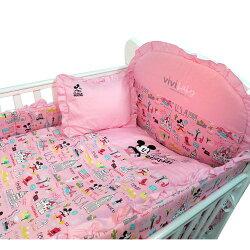 【ViVibaby】迪士尼米奇愛旅行七件組寢具(粉紅)★衛立兒生活館★