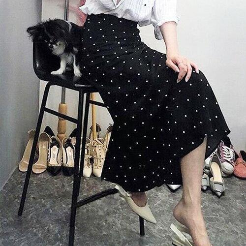 魚尾裙長裙顯瘦顯腰點點魚尾長裙艾爾莎【TAE6766】