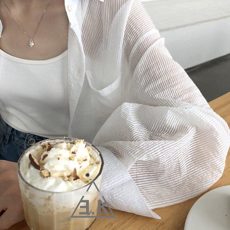 雪紡襯衫-長款雪紡襯衫寬鬆防曬中長款薄款襯衫外套 4