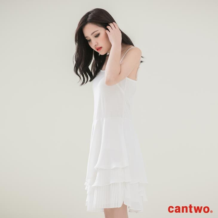 cantwo壓摺荷葉內襯洋裝(共二色) 1