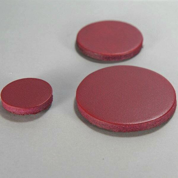 磁鐵 真皮皮革 酒紅 圓直徑3公分-Mark Honor