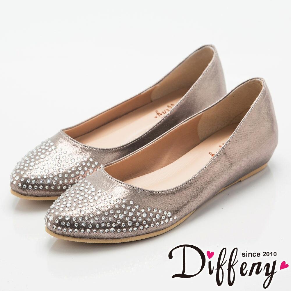 Diffeny 法式優雅 耀眼水鑽內增高尖頭鞋~灰