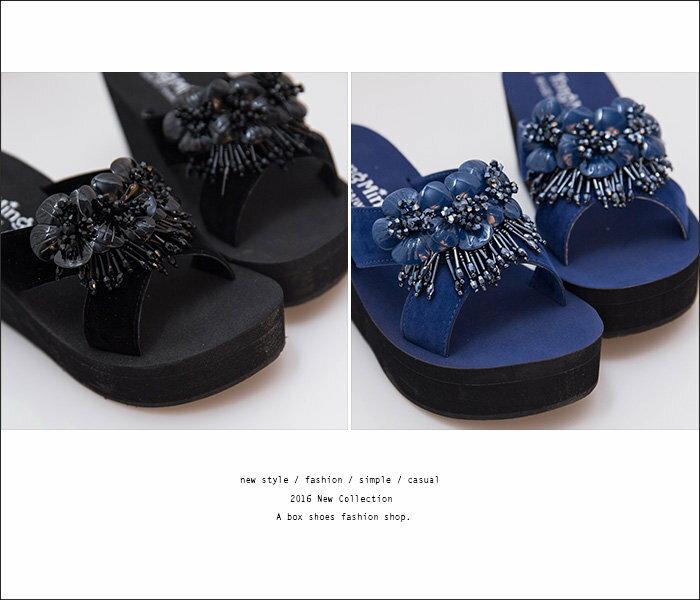 格子舖*【KI815】MIT台灣製 華麗寶石花朵 前3.5後7CM厚底增高楔形拖鞋 2色 2
