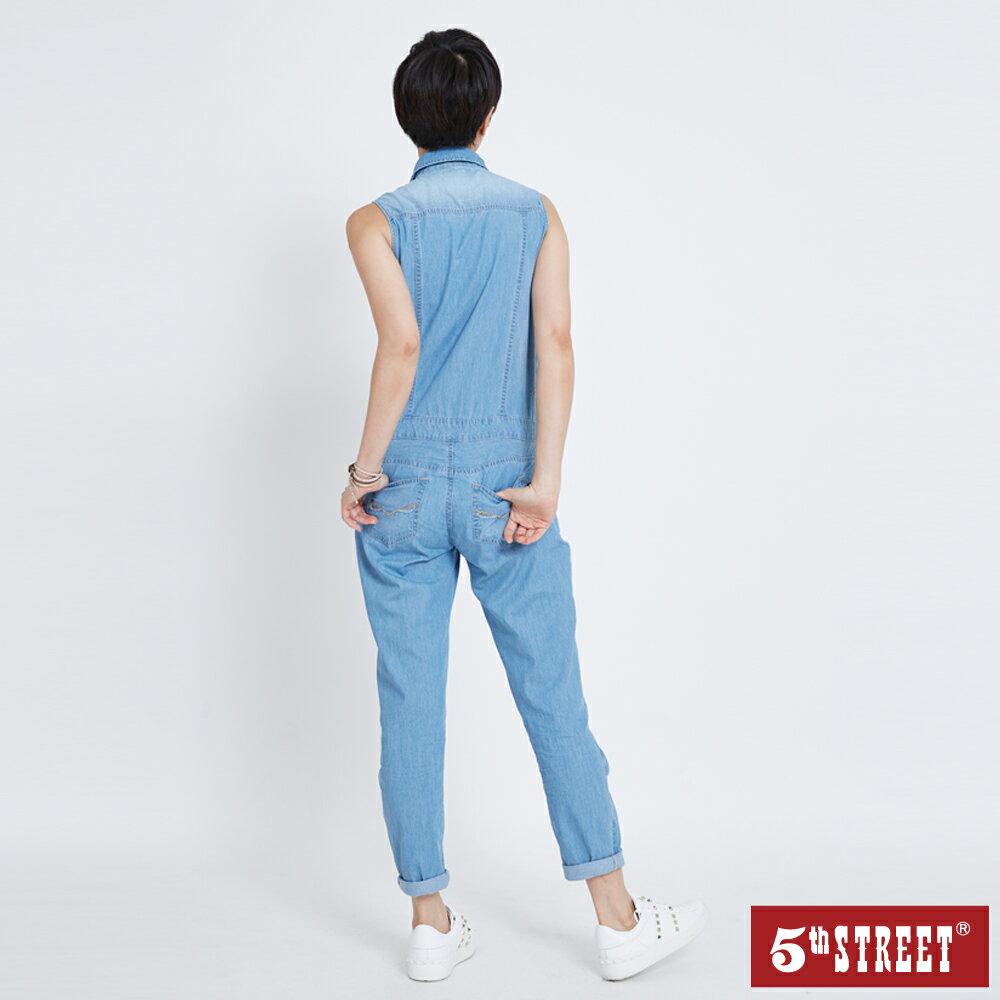 【5th STREET】女牛仔連身褲裝-石洗藍