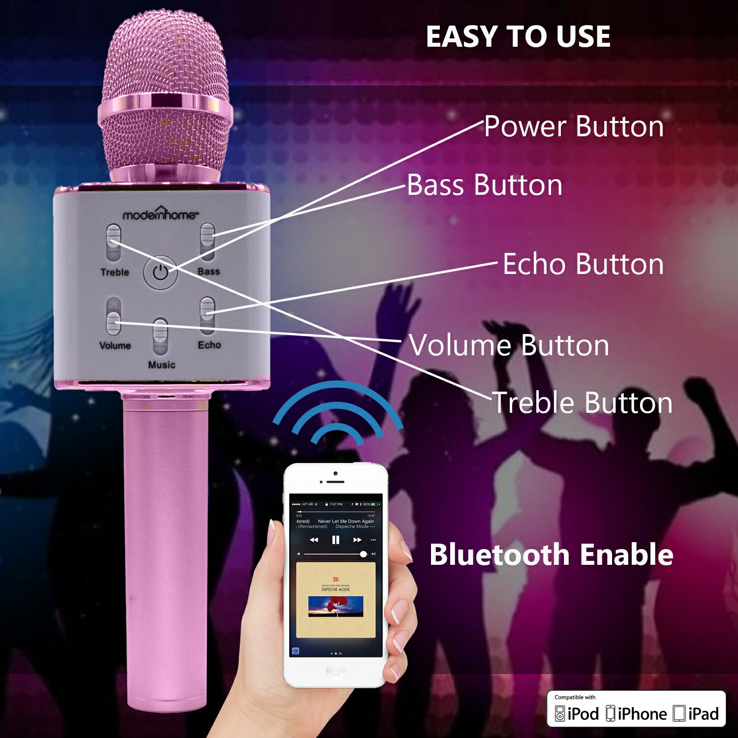 Wireless Karaoke Microphone with Speaker Pro, 2-in-1 Protable Bluetooth KTV Karaoke Machine for Apple Android Smartphone, Gifts for Kids, Birthday 6