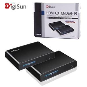 DigiSun EH120 HDMI Cat5/5e/6訊號延長器+同步傳輸紅外線訊號 直線:120 公尺,網路:無限制