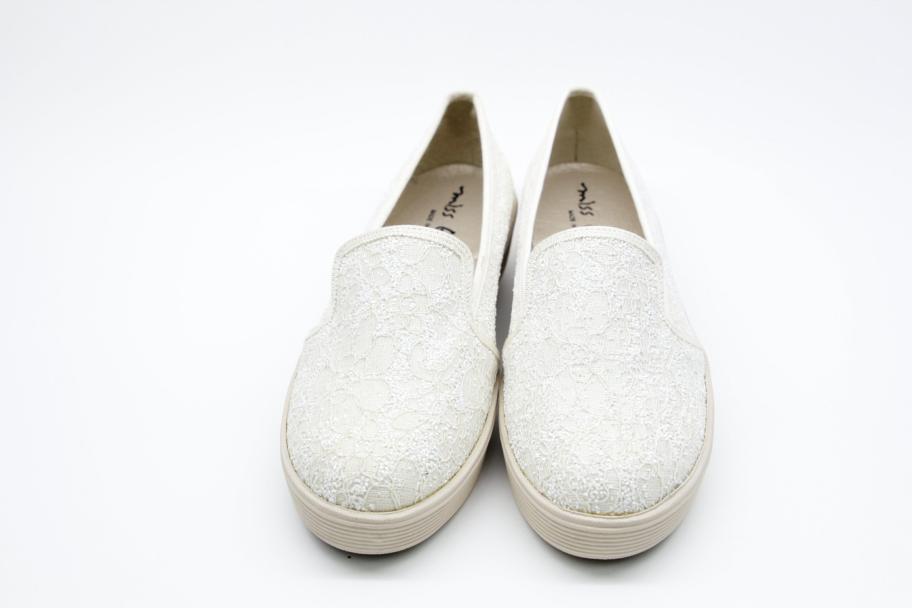 Aimez La Vie 超輕氣墊鞋 蕾絲亮片真皮內裡腳窩樂福厚底休閒鞋