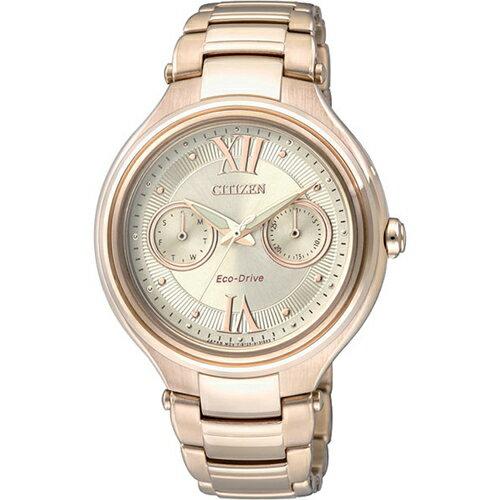 CITIZEN星辰FD4003-52P玫瑰金優雅雙環光動能女錶/香檳面38mm