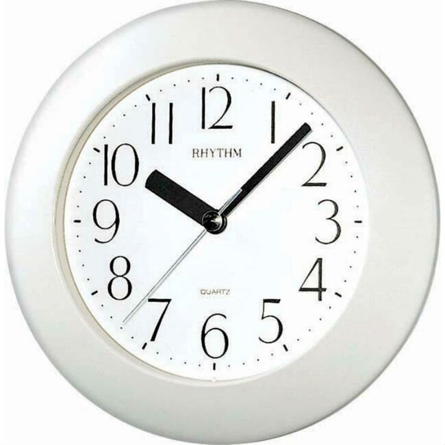 大高雄鐘錶城 RHYTHM 麗聲鐘(4KG652) 雪白圓形時尚掛鐘/ 17.8cm