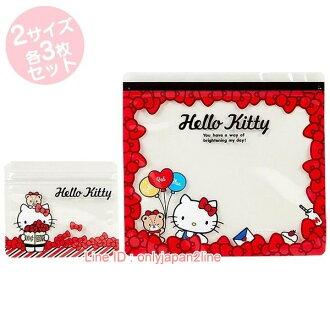 【真愛日本】17021600019 夾鏈袋組-KT緞帶紅+AAB  三麗鷗 Hello Kitty 凱蒂貓  夾鏈袋 小物 旅用 收納