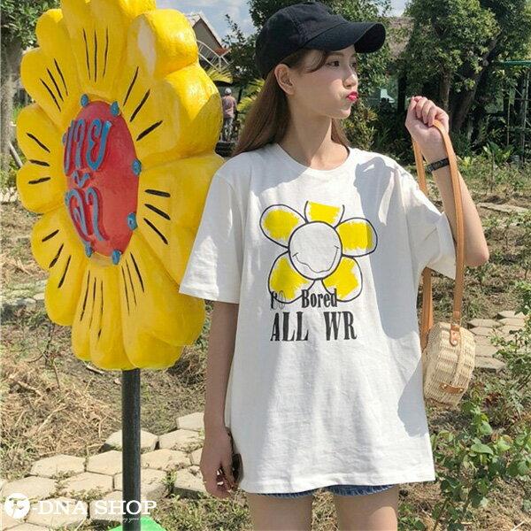 F-DNA★太陽花印圖長版圓領短袖上衣T恤(白-均碼)【ET12700】 4